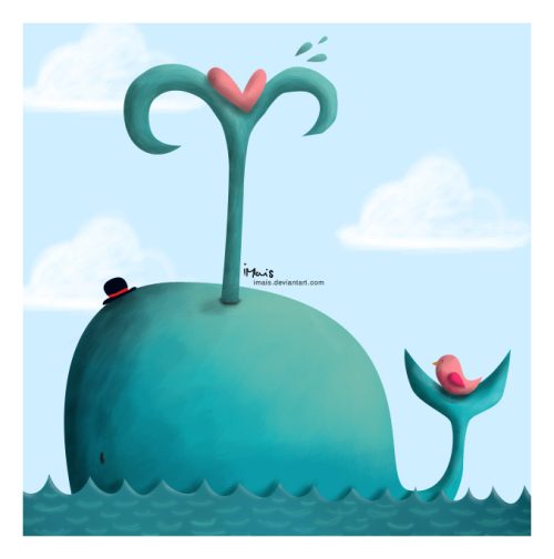 Lovely whale and bird. Cute illustration