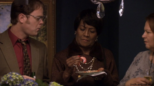 Dwight: Oh, you know that line on the top of the shrimp? That's feces. 2x17 - Cocktails