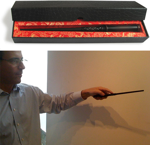 yeahitscher:  nerdology:  Kymera Magic Wand Universal TV Remote OK Potter fans, have at it.  A universal remote that changes the channel based on a flick of your wrist.  There are actually 13 different gestures recognized by the device. Are you happy? Cause I'm ecstatic. [OhGizmo]