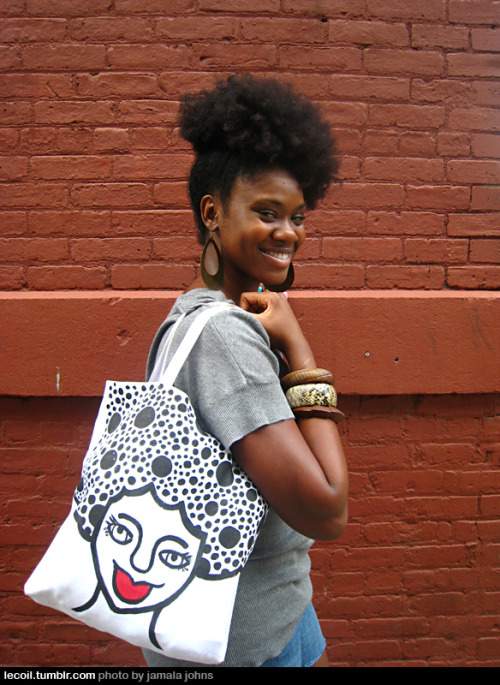 Chanel, a writer, carrying a tote by Amanda Diva. Love this shot.