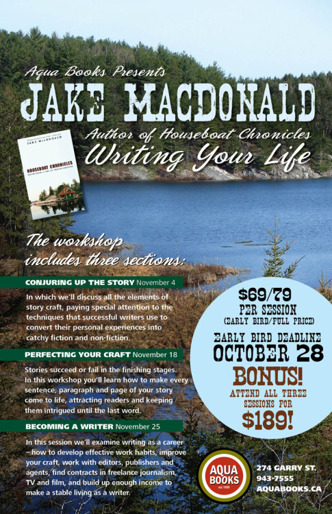 Writer Jake MacDonald's November workshop at Aqua (poster, Instant Noodles)