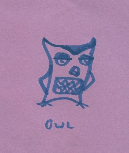 Cartoon Owl. Drawn Yesterday