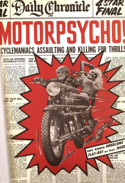 MOTORPSYCHO! Cyclemaniacs assaulting and killing for thrills! Police car overturned and burned by cyclists. Local police quell near riot!