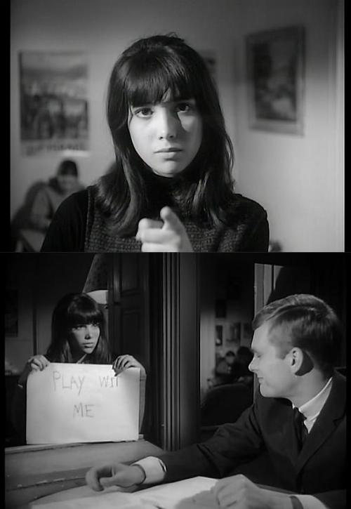 Janet Margolin & Keir Dullea in David and Lisa (1962, dir. Frank Perry), an early example of independent American cinema. Margolin & Dullea portray two disturbed teenagers (she is supposedly a schizophrenic; he suffers from severe obsessive-compulsive disorder and cannot bear to be touched) in a mental health clinic who fall in love. David and Lisa's financial success & positive reviews made it a breakthrough for independent filmmaking in the US.