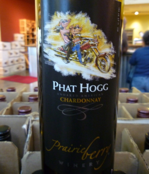 Tonight's good booze: Some Phat Hogg Chardonnay from Prairie Berry Winery in South Dakota. No really. They make wine in South Dakota.