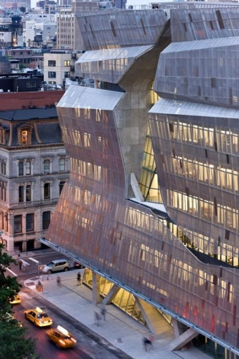 "landscapelifescape:  Cooper Union, New York City ""Covering an otherwise standard glass and aluminum window wall is a stunning skin of stainless steel panels that swing open to let light in and keep heat out as needed. This approach, which Mayne also used to heavier aesthetic effect on the skins in L.A. and San Francisco, cuts solar radiation during the summer and serves as an insulator in cold weather. The skin's transparency also means that during the day, 75 percent of the building is lit by the sun, cutting energy costs and brightening up the atmosphere inside.""  41 Cooper Union: A Tour of Thom Mayne's Cutting-Edge Elevator-Killing Marvel  My school's new academic building!! :)"