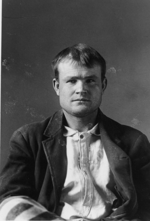 criminalwisdom:  Butch Cassidy, mugshot, Wyoming, taken while he was serving 18 months in prison for stealing horses, 1894.  (Source: Clayton Cubitt)  Previously: Did Notorious Old West Outlaw Butch Cassidy Survive?