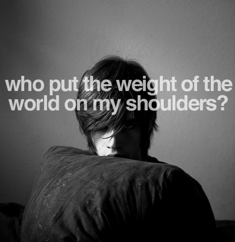 requested: oasis - who put the weight of the world on my shoulders? (picture by logan)