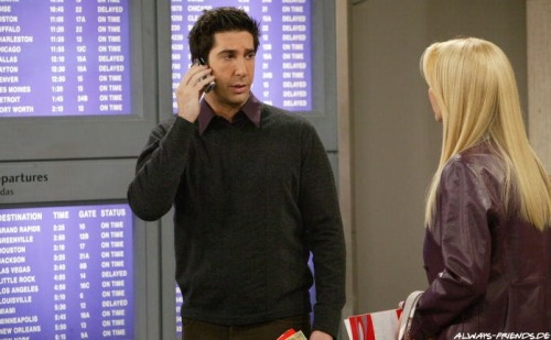 10x17 TOW The Last One Ross: Listen! I need Rachel's flight information. Monica: Oh, okay. Alright, it's flight 421. Leaves at 8:40. Ross: Yes, that's what I have. It's not on the board. Monica: That's what it says here. Flight 421, leaves at 8:40, Newark airport. Ross: What? Monica: Newark airport. Why, where are you? Ross: JFK.