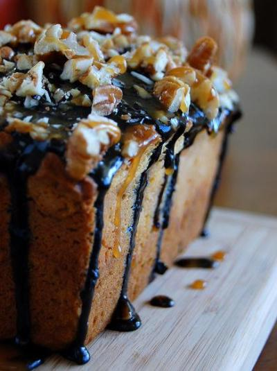 Pumpkin Caramel Cheesecake Turtle Bread topped with Chocolate Glaze and Pecans (via Culinary Concoctions by Peabody)