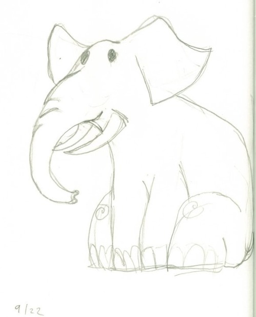 Cartoon Elephant drawn in pencil.