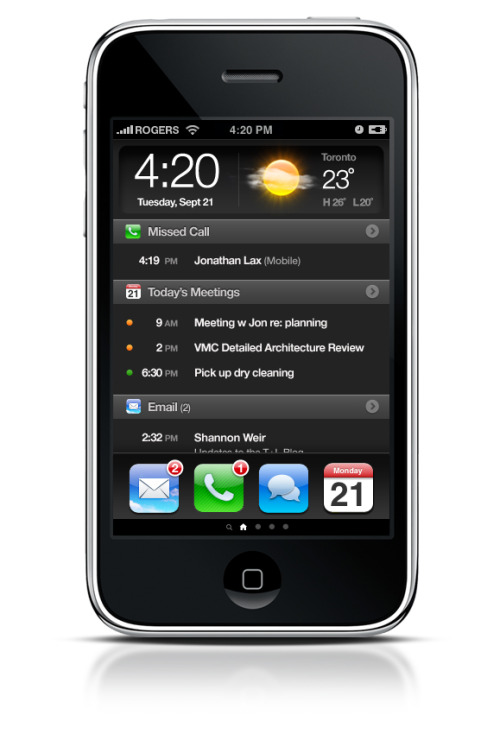 iPhone Needs a New Home I would love to see Apple integrate a home screen like this into the iPhone.  There's quite a few apps that I only launch to see a few quick details.  Adding a home screen would allow me to quickly view information without having to open and close a handful of apps.(via Andrew Wilkinson)