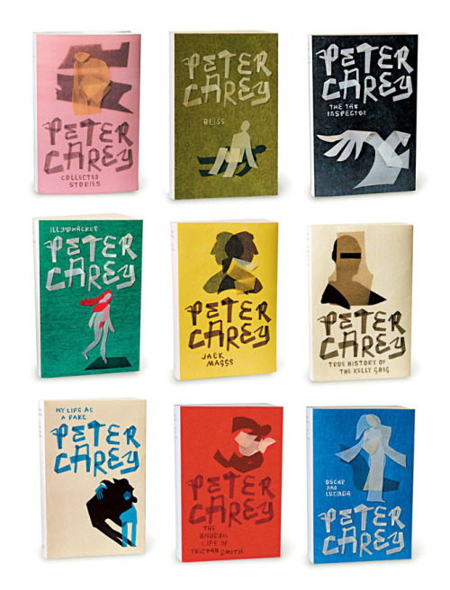Designer Jenny Grigg is responsible for this excellent series of Peter Carey covers. FaceOut Books (my new obsession, yet another wonderfully curated collection of book cover design) gives us an inside look as she discusses her previous experiences with the project as well as her design process. (via Buamai)