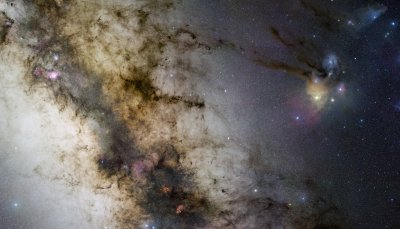 From Sagittarius to Scorpius, the central Milky Way is a truly beautiful part of planet Earth's night sky.  The gorgeous region is captured here, an expansive gigapixel mosaic of 52 fields spanning 34 by 20 degrees in 1200 individual images and 200 hours of exposure time.  Part of ESO's Gigagalaxy Zoom Project, the images were collected over 29 nights with a small telescope under the exceptionally clear, dark skies of the ESO Paranal Observatory in Chile.  The breathtaking cosmic vista shows off intricate dust lanes, bright nebulae, and star clusters scattered through our galaxy's rich central starfields.  Starting on the left, look for the Lagoon and Trifid nebulae, the Cat's Paw, the Pipe dark nebula, and the colorful clouds of Rho Ophiuchi and Antares (right).