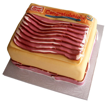 Oscar Meyer Bacon Cake It appears that's frosting-bacon, but we can only hope there's REAL bacon inside. from thesugarsyndicate.com via loki1181