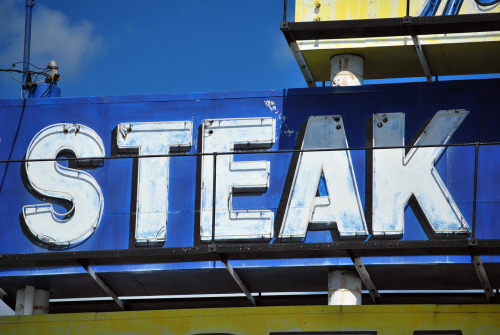 STEAK, Pennsylvania blue and white sign // treasureeverywhere