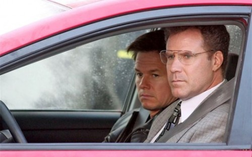 Mark Wahlberg and Will Ferrel, currently shooting The Other Guys, a buddy cop (office clerks) comedy, in NYC. Also starring, get this, Eva Mendes, Steve Coogan, Samuel L Jackson, The Rock, Damon Wayans, Rob Riggle, Craig Robinson, and Michael Keaton. via www.slashfilm.com