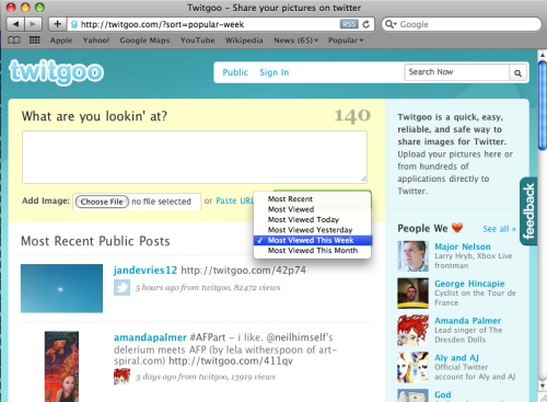 Take a peek at the most popular posts on Twitgoo by changing the pulldown on the top of the timeline.  You can sort tweets by most recent or most viewed goo posted within the last day, two days, week or month.  You can also sort an individual user's posts the same way!