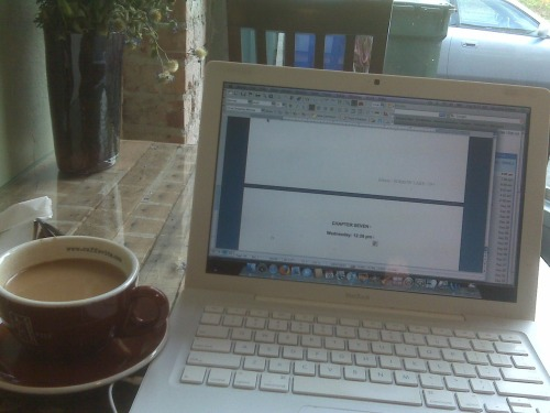 Seattle morning, day 2. Writing and a cup (or three) of awesome coffee at Tougo Coffee.