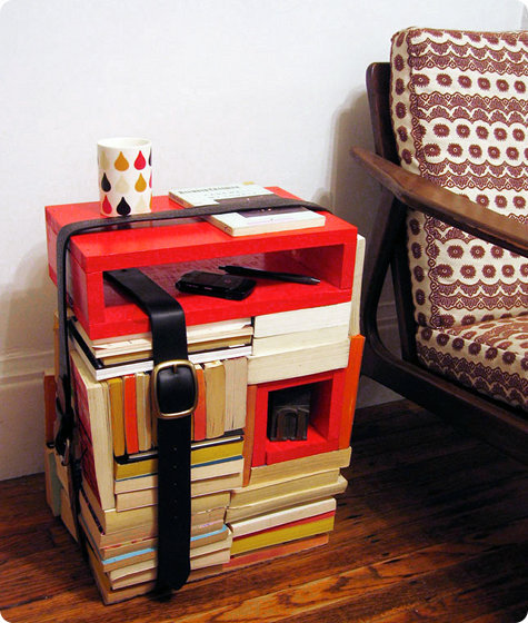 Design Sponge has a nifty post on making a side table with books.
