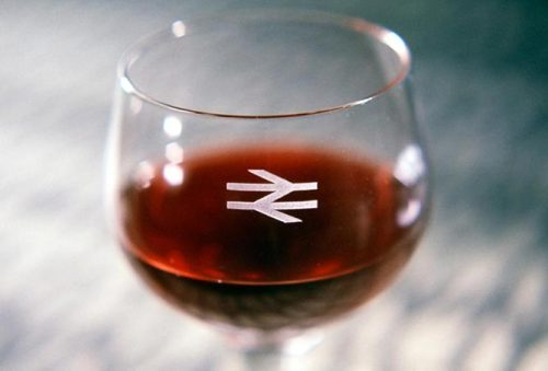 """New British Rail branding on a wine glass"", from the National Railway Museum's ""1968"" site. Looks like a wonderful exhibition; shame I missed it."