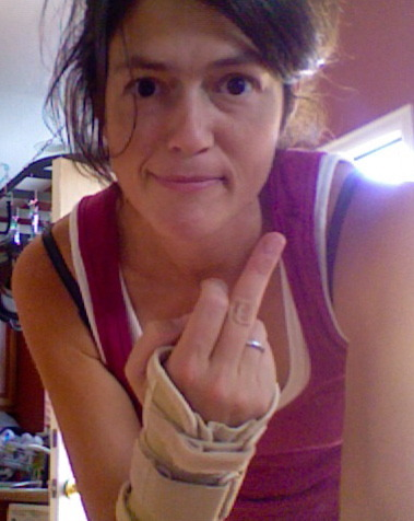 GPOYfinger.  This is for you, Wednesday.  I'm keeping the wrist guard, but you can shove THIS where you like.  See you next week, mycorpse.