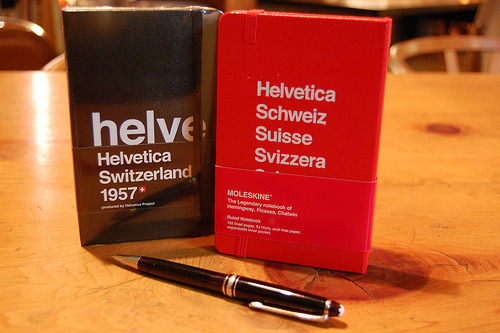Helvetica Moleskines. That's double nerdy. However, they're really gorgeous! —perhaps a bit slowpoke.jpg (or slowking.exe), but still nice.