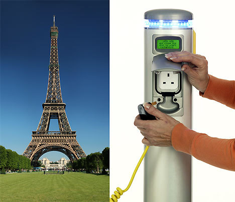 "Big News: France to Spend $2.2 Billion on Electric Car Charging Stati Charging Sockets to Become Obligatory in Office Parking Lots €1.5 billion (about $2.2 billion) will be spent by France on the network of EV charging stations, but also ""the government will make the installation of charging sockets obligatory in office parking lots by 2015, and new apartment blocks with parking lots will have to include charging stations starting in 2012."" Via Wall Street Journal TreeHugger"