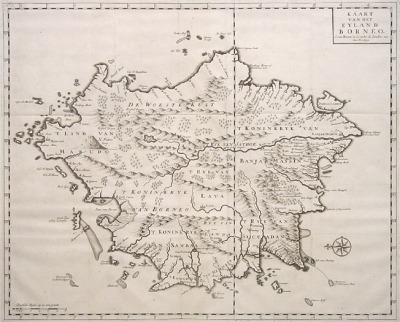 antique map of Borneo, maker: Valentijn (I assume from when the Dutch were colonising around that area)To see what Borneo actually looks like, click here