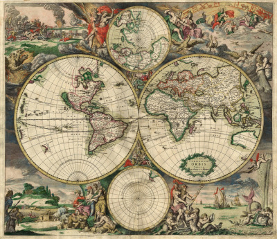 world map, maker:  Gerard van Schagen1689Image from here, click to read interesting information about this particular map