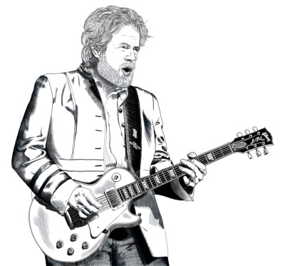 Photoshop drawing of Randy Bachman, black and white version.