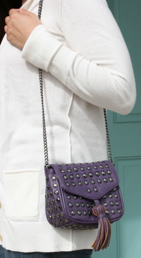 Sondra Roberts studded mini bag. Can be worn shoulder or cross body with the chain strap, or tuck the strap in and use the bag as an edgy clutch.