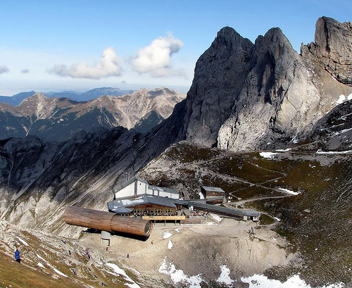 "Telescope for Giants? by Werner Böhm: ""At summit-station of the 'Karwendel-Rope Way', located at about 1300 m, is this nature-exhibition with outstanding architecture (like the telescope.) The view around is very spectacular."" Mittenwald, Bavaria, Germany"