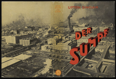 "johnheartfield:  Cover Design for Upton Sinclair's Der Sumpf (The Jungle) — John Heartfield, 1928 ""One of Heartfield's longest engagements entailed designing book covers for Malik Verlag. This press, run by his brother Wieland Herzfelde, aimed to make leftist books on social issues inexpensively available to the German public. Since many of the authors were little known or foreign, the dust cover was important in attracting attention. This book is a German translation of California author Upton Sinclair's The Jungle (Der Sumpf in German). The jacket for Der Sumpf was noted for the extended scale of its image, covering the front, back, and spine of the book.""  — http://www.getty.edu/art/exhibitions/heartfield/"