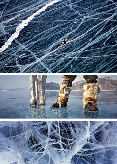 celestedanielle:  mozzah:  bauldoff:  Wonderful images of the Siberian Lake Baikal by photographer Matthieu Paley. Paley's work was featured in Serko, a book (and film) telling the true story of equestrian Dmitri Peshkov and his horse, Serko. The duo rode 200 days and 9,000 kilometers from Blagoveshchensk, Siberia, to Saint Petersburg, Russia, 1889-1890. Paley recounts his experience to Outside Magazine. (via notcot)