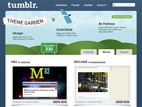 The M82 Tumblr Theme is now available as a one-click install in the Theme Garden.