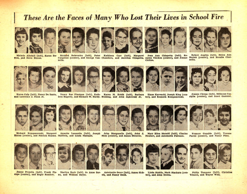 A collection of portraits of the victims of a December 1, 1958 school fire at Our Lady of the Angels in Chicago that killed 92 children and three nuns. Scanned from a large scrapbook that was recently found at a Chicago flea market. More information on the tragedy can be found here.
