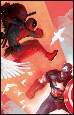 Deadpool vs. Cap by *Manarama on deviantART