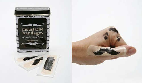 Moustache Bandages | IncredibleThings via un: coolbyassociation: hrrrthrrr