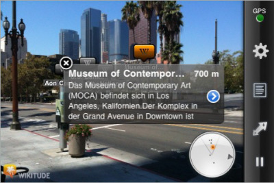 smarterplanet:  Augmented Wikipedia Reality Has Arrived on the iPhone Augmented reality takes virtual data, places it on your phone, and allows you to interact with it using your compass, camera, and GPS. The end result is the ability to see virtual items and information in the real world. Wikitude's AR app combines Wikipedia (Wikipedia) and geotagged information from its users and places it in your hands.