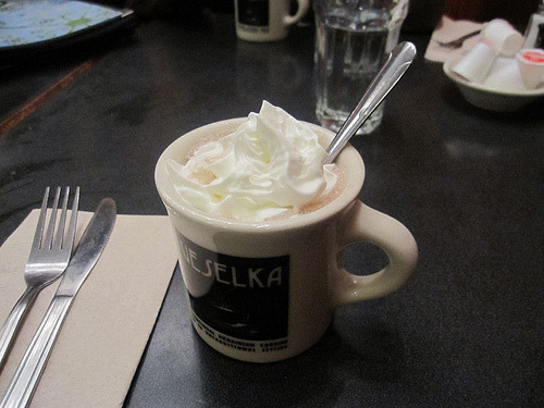 I earned this hot chocolate, and then some.  From a post-karaoke snack at Veselka, near Afroblanco's apartment; he and I and kathrineg and ocherdraco managed to outlast the rest of the crew and get perogies, and boy were they worth it. But the hot chocolate was really the best part.