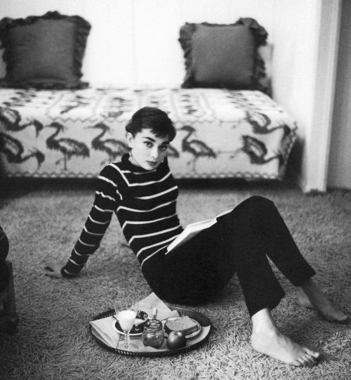 Audrey Hepburn at home, by Mark Shaw, 1953