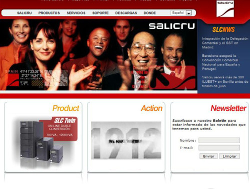 Role: Project Manager Agency: MDI Client: Salicru Salicru is one of the biggest providers of Uninterruptible Power Supply Systems (UPS) in the world. They needed a tool for giving support to the customers as well as the retail channel for their products. The solution was an information site with a download center that provides all the information needed, where you can download tutorials, software, technical descriptions and information. www.salicru.com