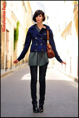 Vintage blue jacket in Paris.