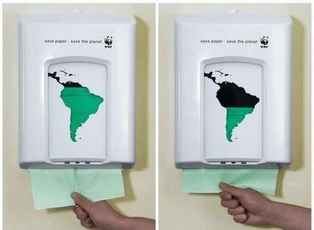 cyan1975:  Advertising/Ambient: WWF - Paper towel dispenser (via imaginary-lines, fumblies & 192 smart, creative and clever advertisements)