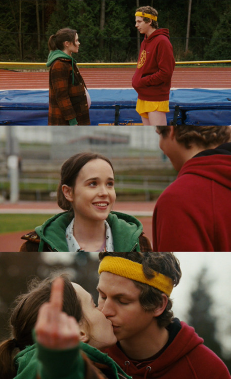 "movieoftheday:  Juno: Also, I think I'm in love with you.Bleeker: What, you mean as friends?Juno: No, for real. I think you are the coolest person I've ever met. And you don't even have to try.Bleeker: I try really hard, actually…Juno: No, you're naturally smart. You always think of the funniest things to do. Remember when you passed me that postcard during Spanish class, and it was addressed like, ""Junebug MacGuff, Row 4, Third Seat From the Blackboard""? And it said, ""I'm having fun in Barcelona — wish you were here""? That was hilarious.Bleeker: I was just bored. I only think school is awesome like, 80% of the time.Juno: Plus, you're the only person who doesn't stare at my stomach all the fucking time. You actually look at my face. And every time I look at you, the baby starts kicking me super hard.Bleeker: It does? Wizard!Juno: I think it's because my heart starts pounding when I see you.Bleeker: Mine too.Juno: Basically, I'm completely smitten with you, and I don't care if I'm making an ass out of myself right now, because you've seen me make an ass out of myself a million times, and you still want to be my friend."