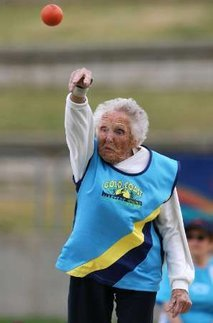 "Female athlete sets new shot put record at age 100 - Yahoo! News ""The oldest female athlete at the World Masters Games in Sydney has broken a world record in the shot put — at the age of 100. All eyes were on Ruth Frith, from Brisbane, as she arrived for day two of the World Masters Games, hoping to win gold in the shot put and feeling pretty confident as she was the only competitor in the over-100s category. But her 4.07 metre (13 ft 4.2 in) throw on Sunday didn't just win her gold, but also broke a world record. ""As long as I didn't foul I was going to win it,"" Frith told Reuters Television. The great-grandmother is also a keen hammer and javelin thrower and believes other pensioners should follow her example. Frith trains five days a week, regularly lifting 35 kg (77 lb) weights. She doesn't drink or smoke and she doesn't eat vegetables either, claiming she hasn't liked them since she was young."""