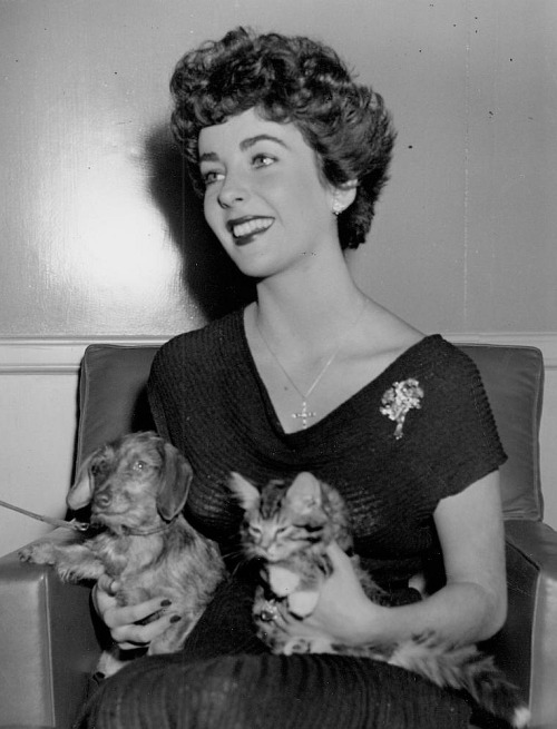 Liz with a puppy and a kitty