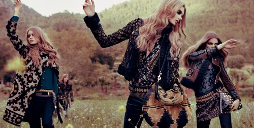 prints and patterns, gold and studs, long wavy hair, deep dark eyes, a gypsy feel.