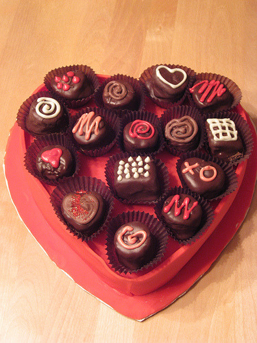 Valentine Box Cake (The chocolates are actually cake balls)